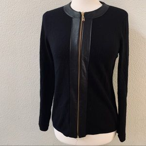 NEIMAN MARCUS cashmere leather trim zip cardigan L